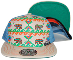 <!--020130129053555-->Official - 'Cali Aztec - Khaki' [(Light Blue) Snap Back Hat]