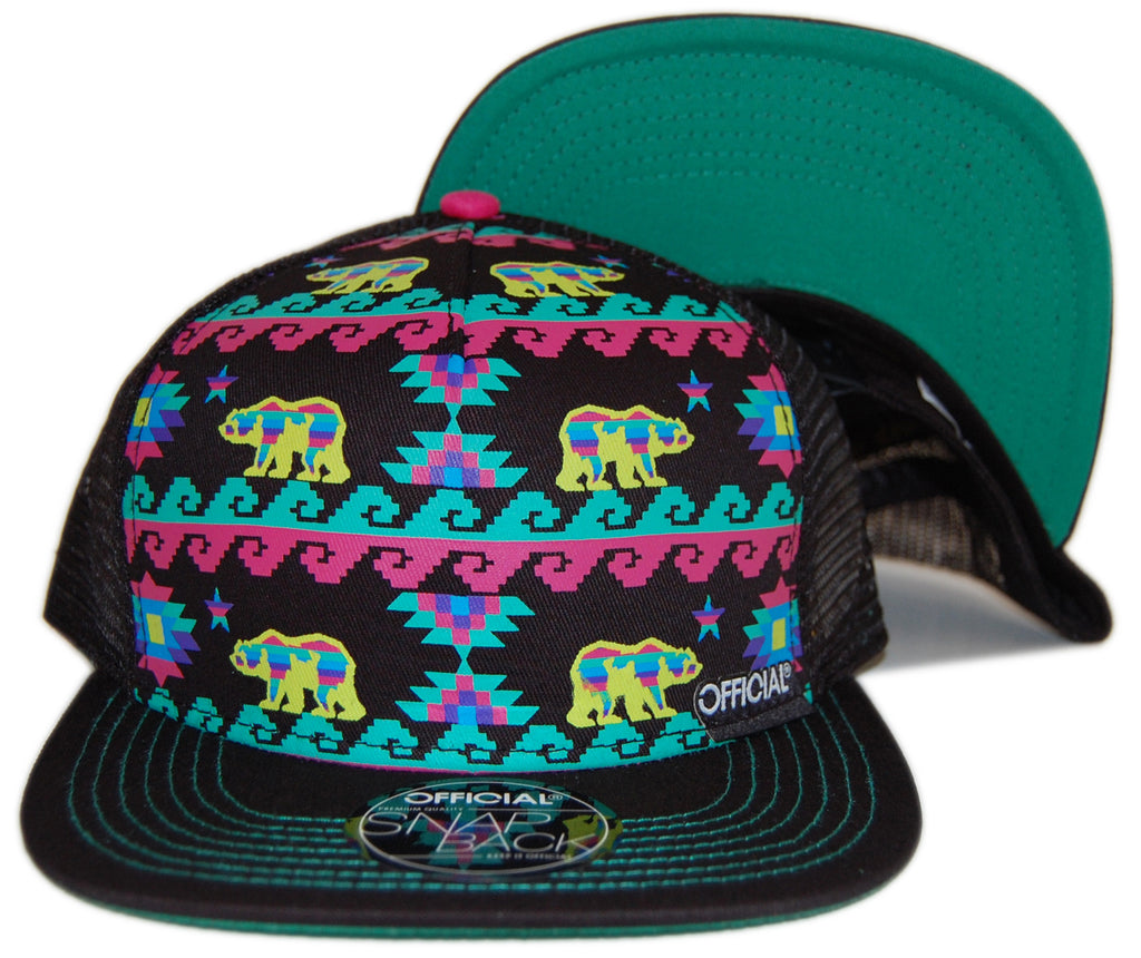 <!--020130129053554-->Official - 'Cali Aztec - Neon' [(Black) Snap Back Hat]