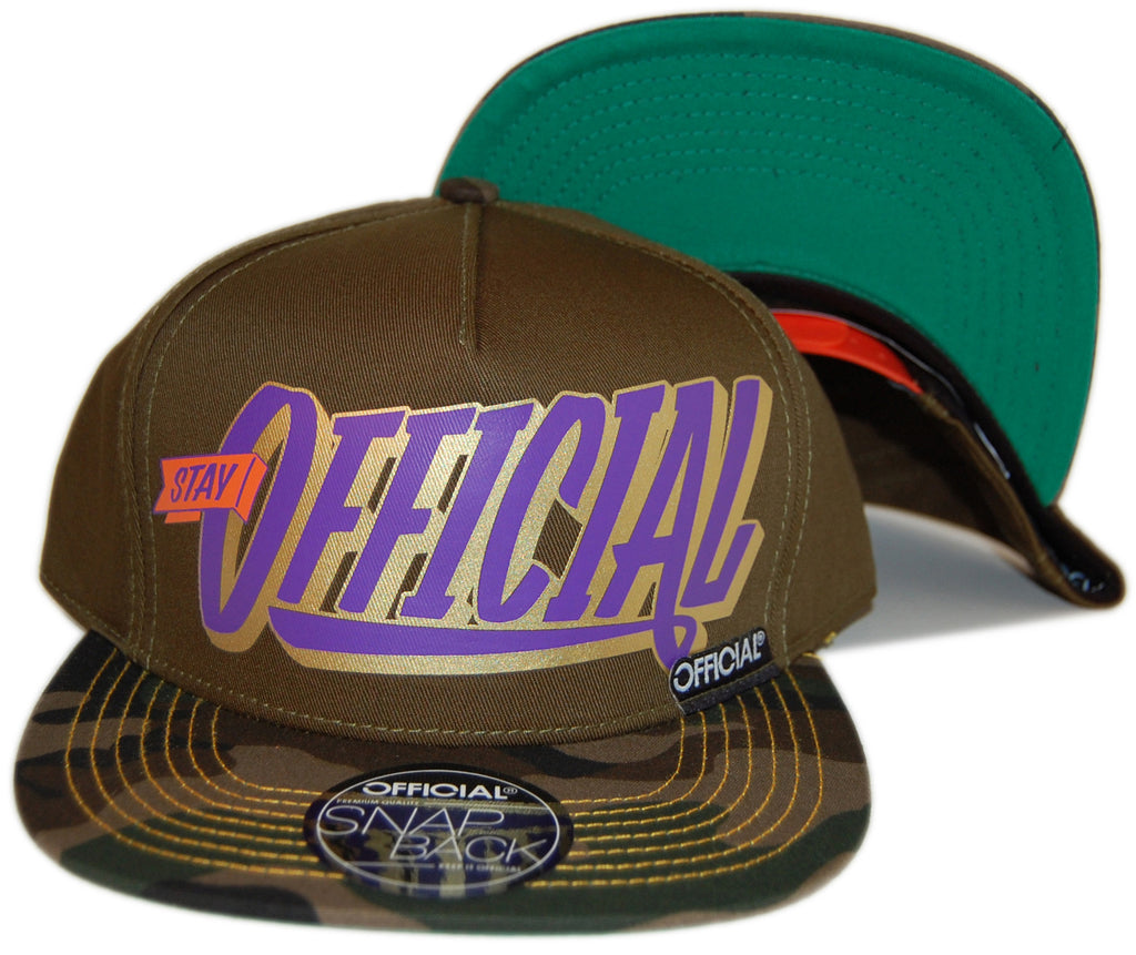 <!--020121204052133-->Official - 'Stay Official Print' [(Dark Green) Snap Back Hat]