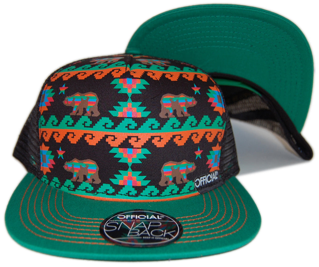 Official - 'Cali Aztec Mesh' [(Black) Snap Back Hat]