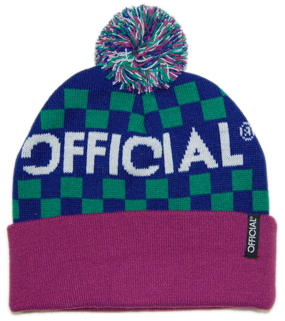 <!--020121204052130-->Official - 'Checkers - Green/ Light Purple' [(Blue) Winter Beanie Hat]