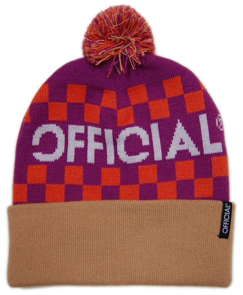 <!--020121204052129-->Official - 'Checkers - Purple/ Light Brown' [(Orange) Winter Beanie Hat]
