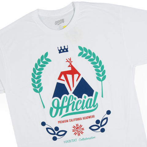 Official x Habitat Skateboards - 'Buck Tri-Color' [(White) T-Shirt]