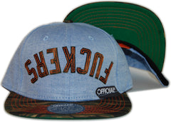 <!--020120501043965-->Official - 'Effers Flipped - Chambray/ Camo' [(Light Blue) Snap Back Hat]