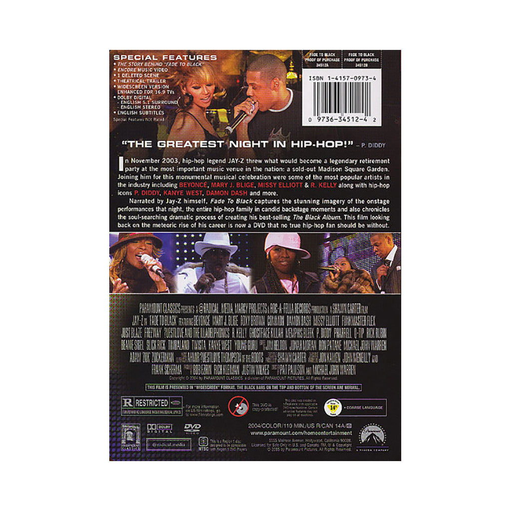 <!--020050101006641-->Jay-Z - 'Fade To Black' [DVD]