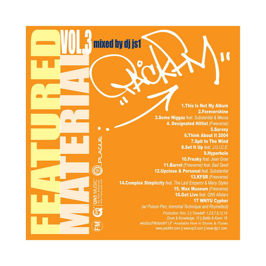 PackFM - 'Featured Material Vol. 3 (Rare Tracks and Freestyles)' [CD]