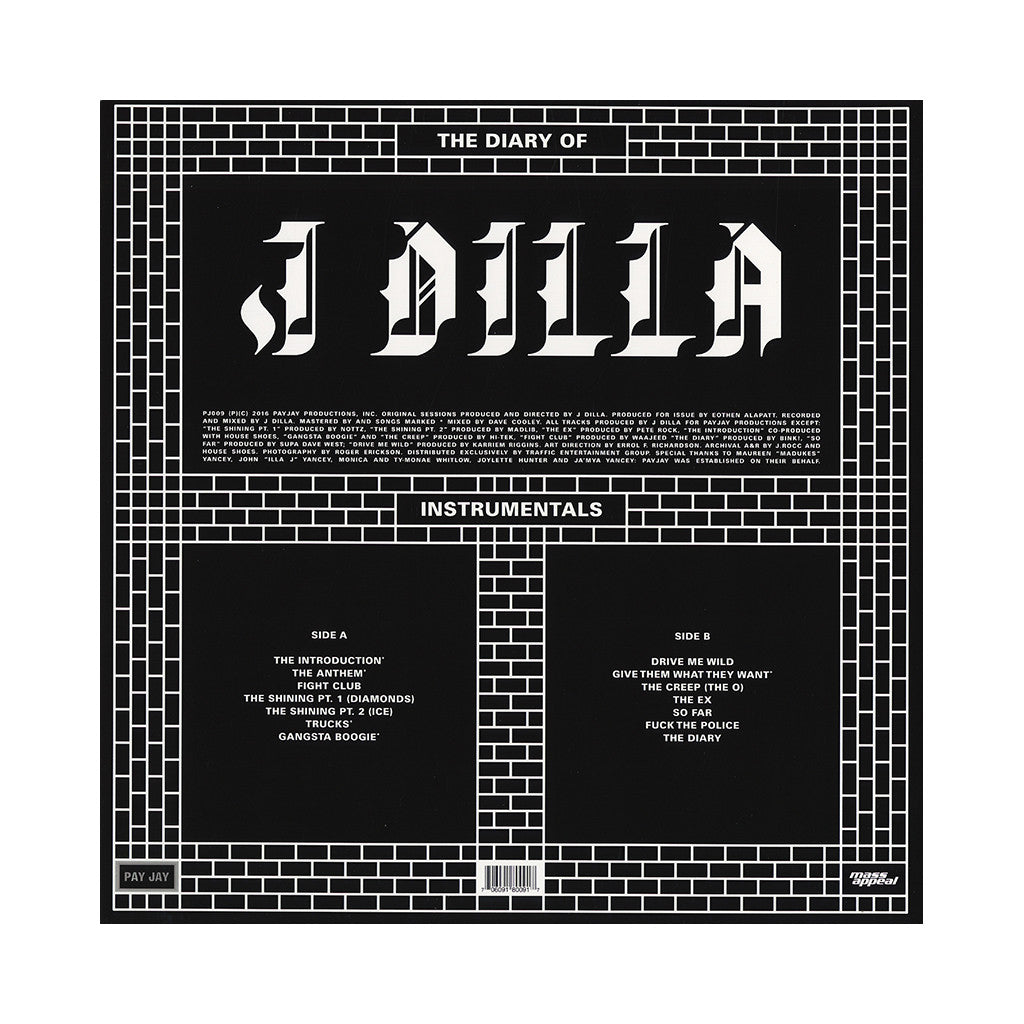 J Dilla - 'The Diary (Instrumentals)' [(Black) Vinyl LP]