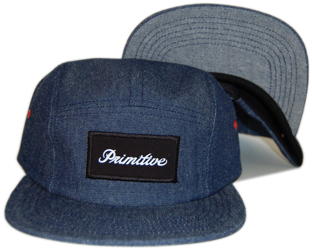 <!--020130312054586-->Primitive - 'Signature Script' [(Dark Blue) Five Panel Camper Hat]