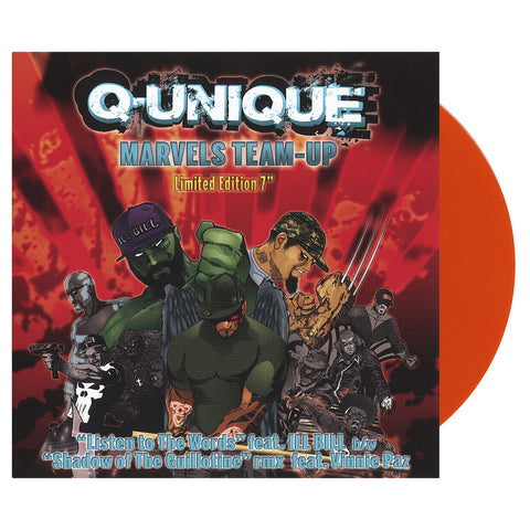 "[""Q-Unique - 'Marvels Team-Up: Listen To The Words/ Shadows Of The Guillotine (Remix)' [(Orange) 7\"" Vinyl Single]""]"