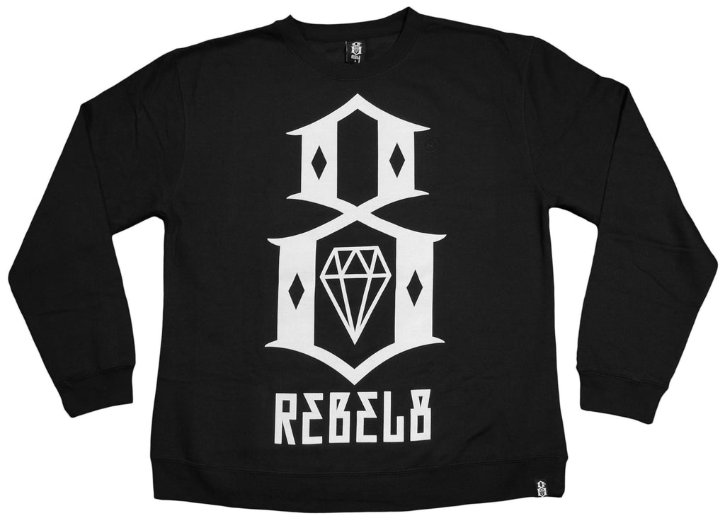 <!--2013021251-->REBEL8 - 'Black Logo' [(Black) Crewneck Sweatshirt]