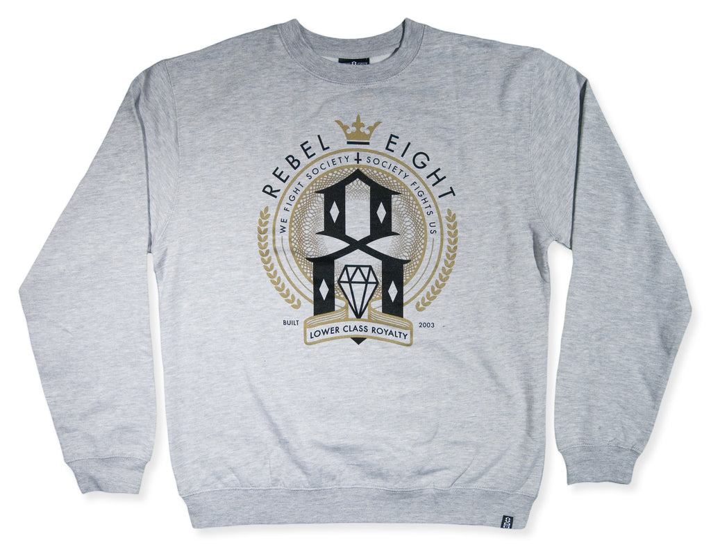 <!--2014032049-->REBEL8 - 'Lower Class Royalty' [(Light Gray) Crewneck Sweatshirt]