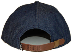 <!--020130917059676-->REBEL8 - 'Denim Suede Logo' [(Dark Blue) Strap Back Hat]