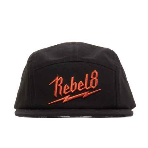 REBEL8 - 'Bolted' [(Black) Five Panel Camper Hat]