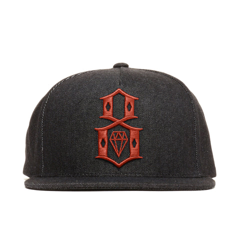 REBEL8 - 'Black Denim Logo' [(Black) Snap Back Hat]