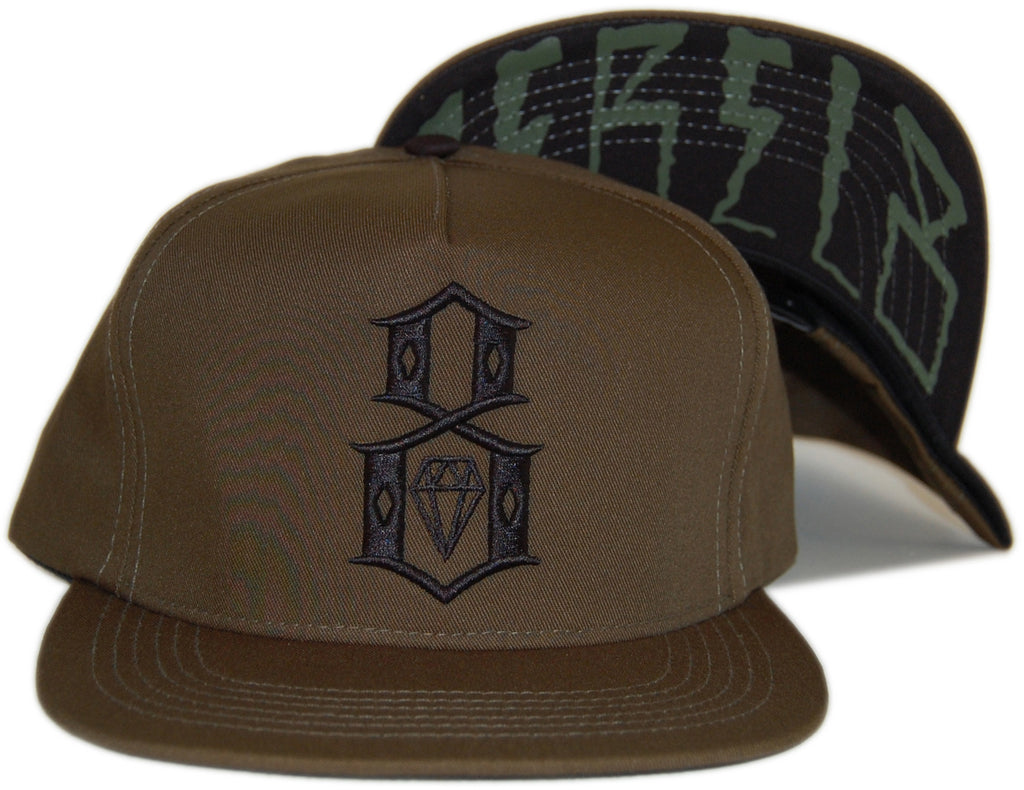 <!--020121120051303-->REBEL8 - 'Army Logo - Rebel 8 Brim' [(Dark Green) Snap Back Hat]