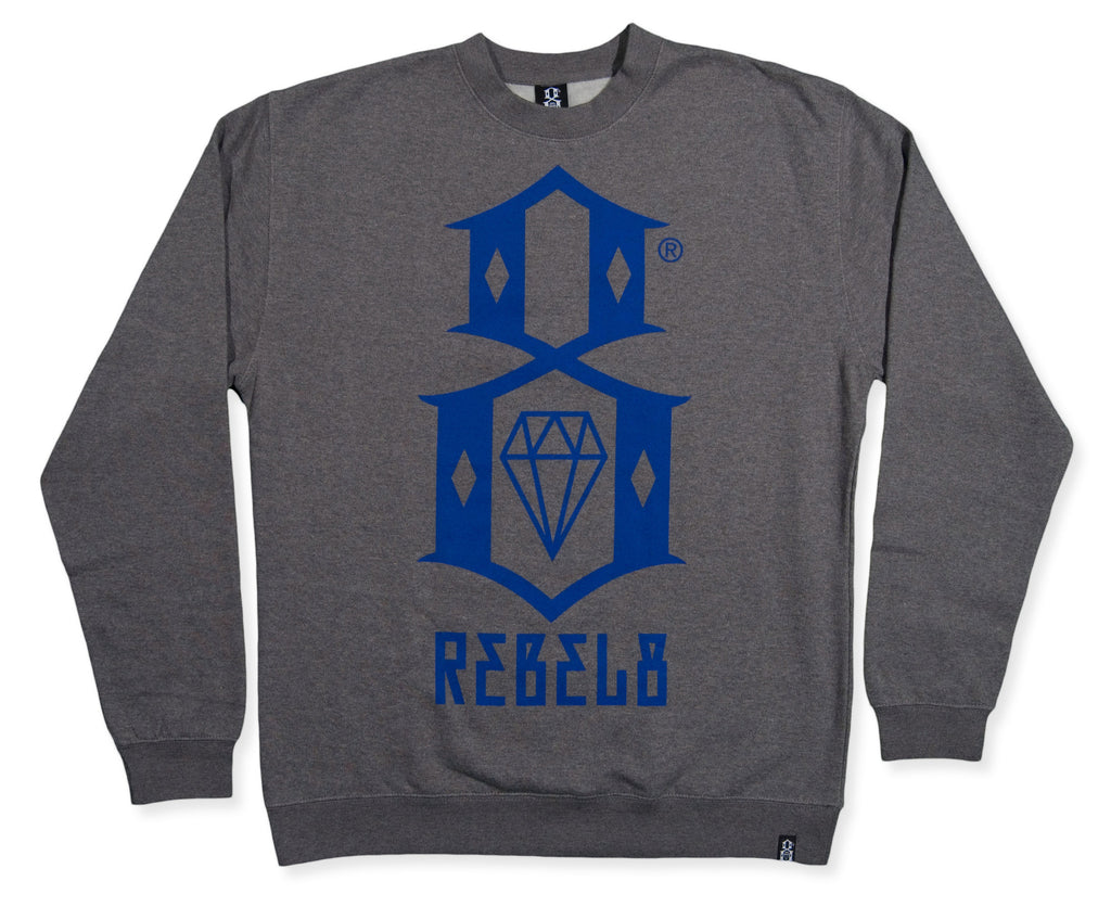 <!--2013112509-->REBEL8 - 'Gunmetal Heather Logo' [(Gray) Crewneck Sweatshirt]