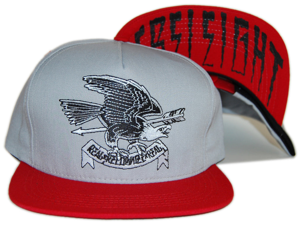 <!--020120904048531-->REBEL8 - 'Eagle Eye - Gray/ Red' [(Light Gray) Snap Back Hat]