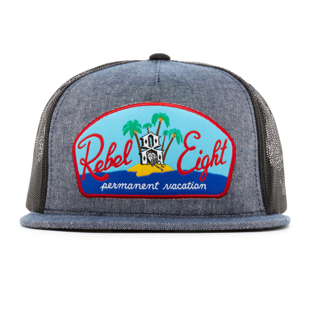 <!--020140521063776-->REBEL8 - 'Permanent Vacation Chambray Mesh' [(Dark Blue) Snap Back Hat]