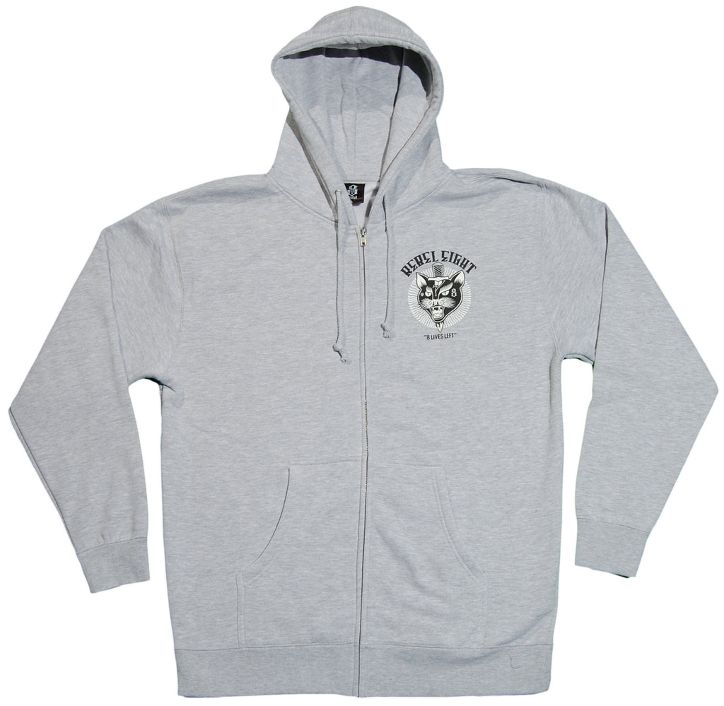 <!--2012022804-->REBEL8 - '8 Lives Left' [(Gray) Hooded Sweatshirt]