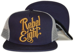 <!--020120228041830-->REBEL8 - 'Lined Up Mesh' [(Dark Blue) Snap Back Hat]