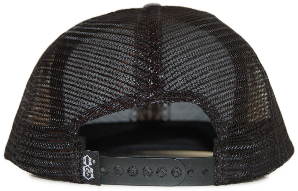 <!--020120228041826-->REBEL8 - 'R8 Logo Faded Mesh' [(Dark Gray) Snap Back Hat]