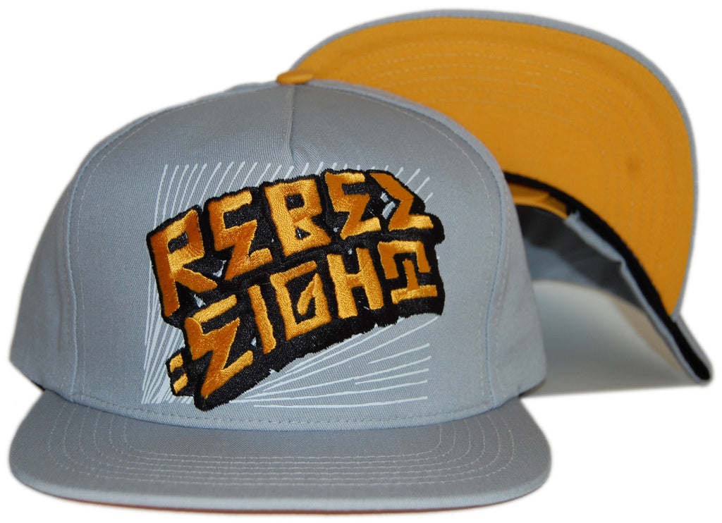 <!--020120522045012-->REBEL8 - 'Warp - Gold' [(Light Gray) Snap Back Hat]