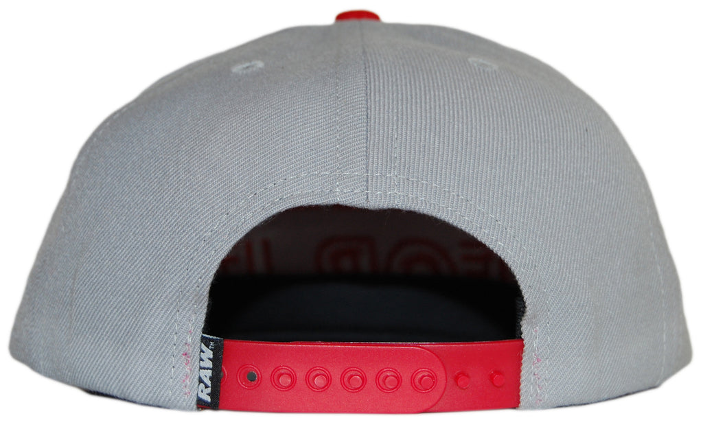 RAW - 'Bleed for It - Gray/Red' [(Light Gray) Snap Back Hat]