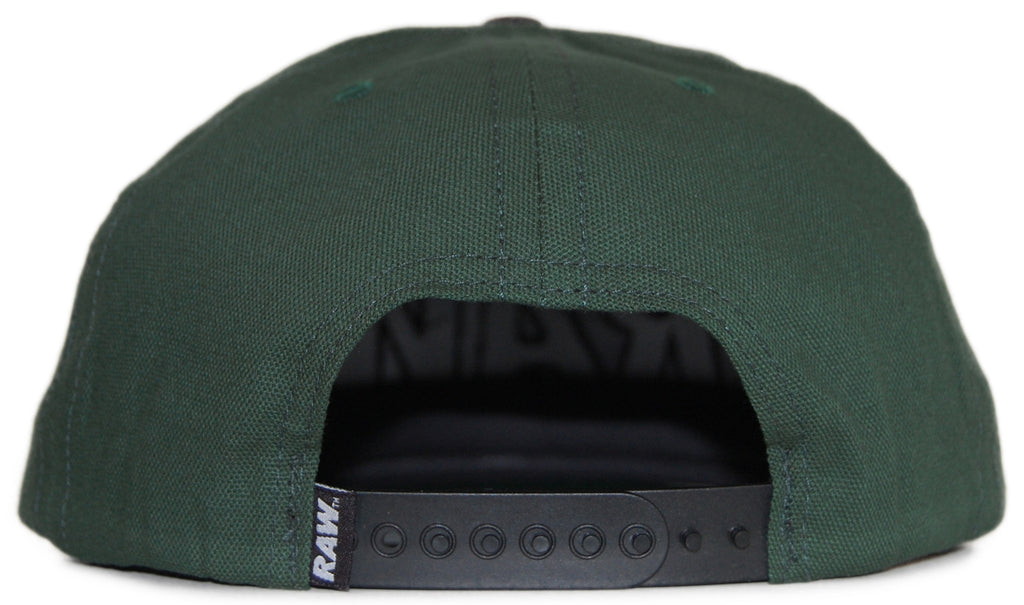 <!--020120417043944-->RAW - 'Logo' [(Dark Green) Snap Back Hat]