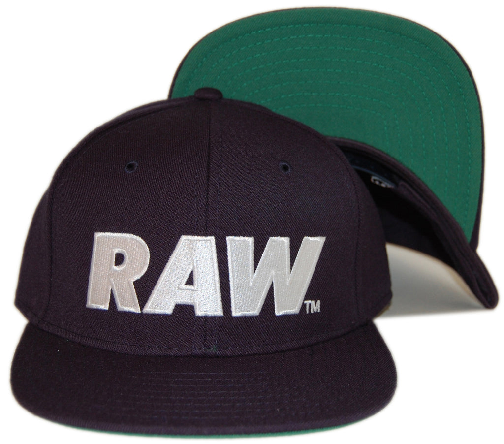 <!--020130903059305-->RAW - 'Logo Primary - White' [(Dark Blue) Snap Back Hat]