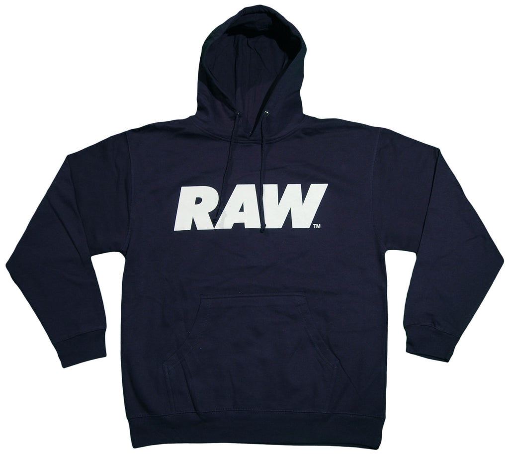 <!--2013021925-->RAW - 'Logo - White' [(Dark Blue) Hooded Sweatshirt]