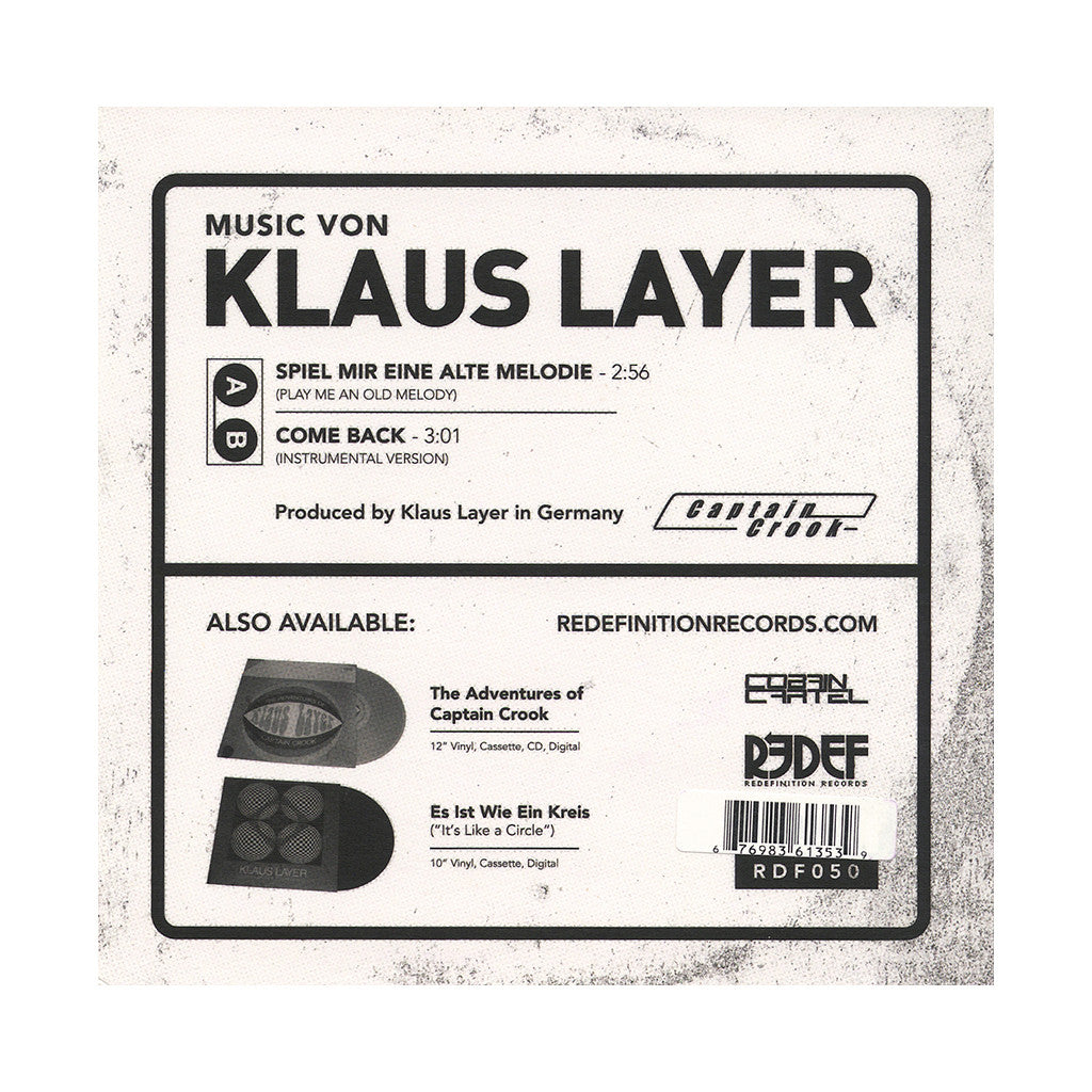 "<!--120140513063351-->Klaus Layer - 'Spiel Mir Eine Alte Melodie (Play Me An Old Melody)/ Come Back' [(Black) 7"" Vinyl Single]"