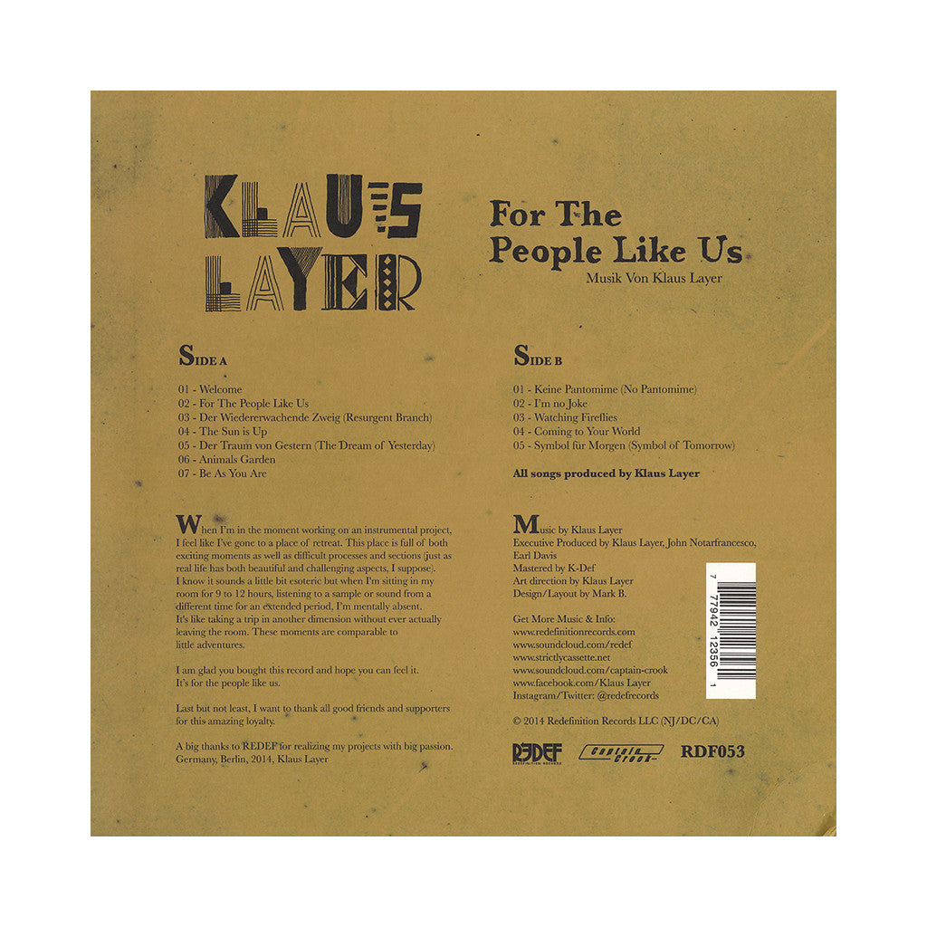 <!--020140722064299-->Klaus Layer - 'For The People Like Us' [(Black) Vinyl LP]