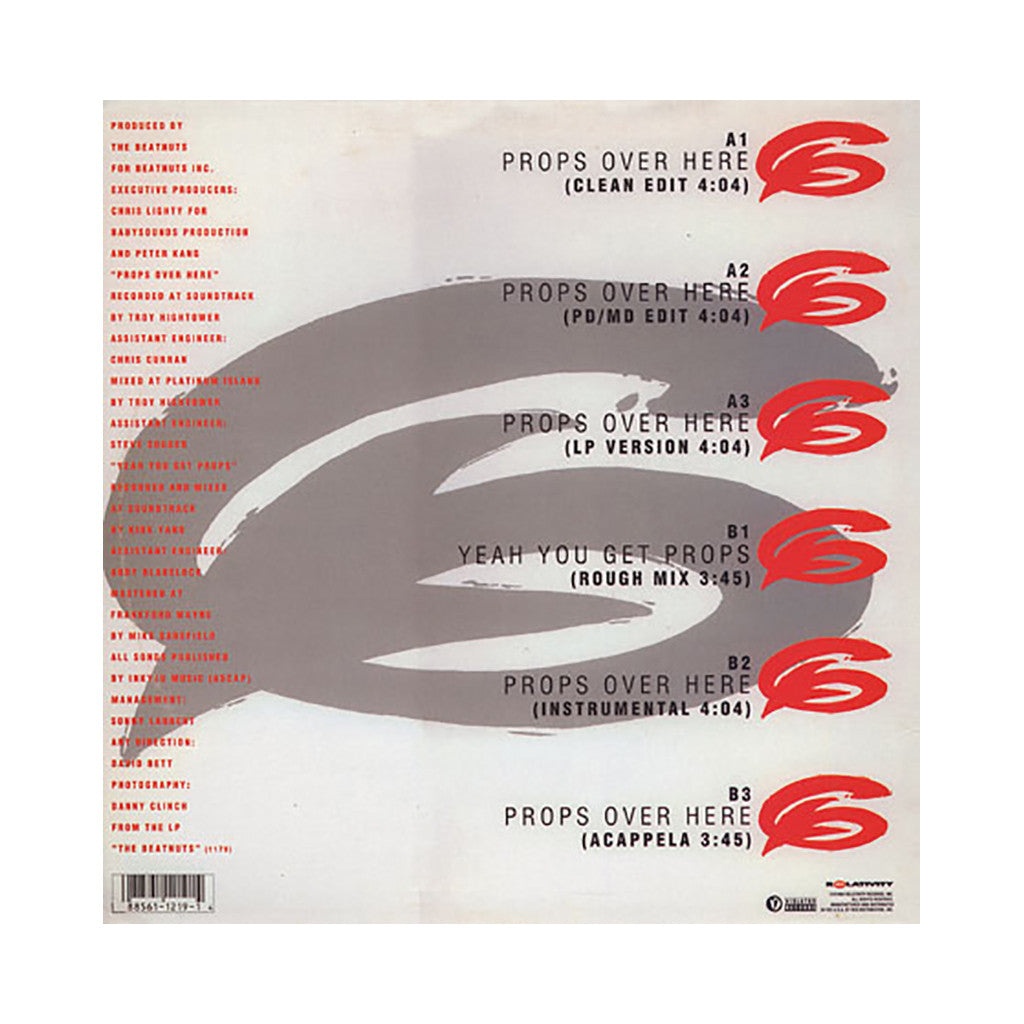 "<!--019940101011509-->The Beatnuts - 'Props Over Here/ Yeah You Get Props' [(Black) 12"" Vinyl Single]"
