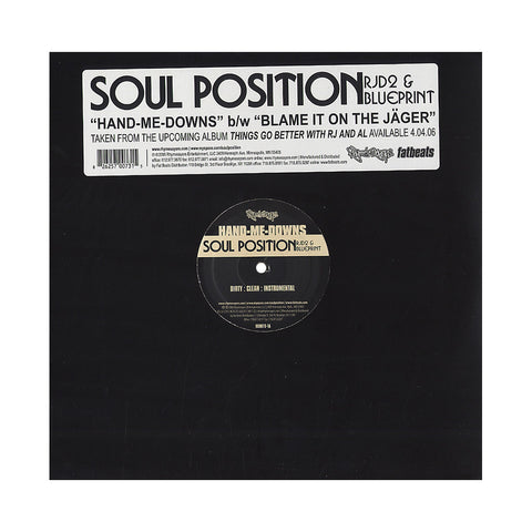 "Soul Position - 'Hand-Me-Downs/ Blame It On The Jager' [(Black) 12"" Vinyl Single]"