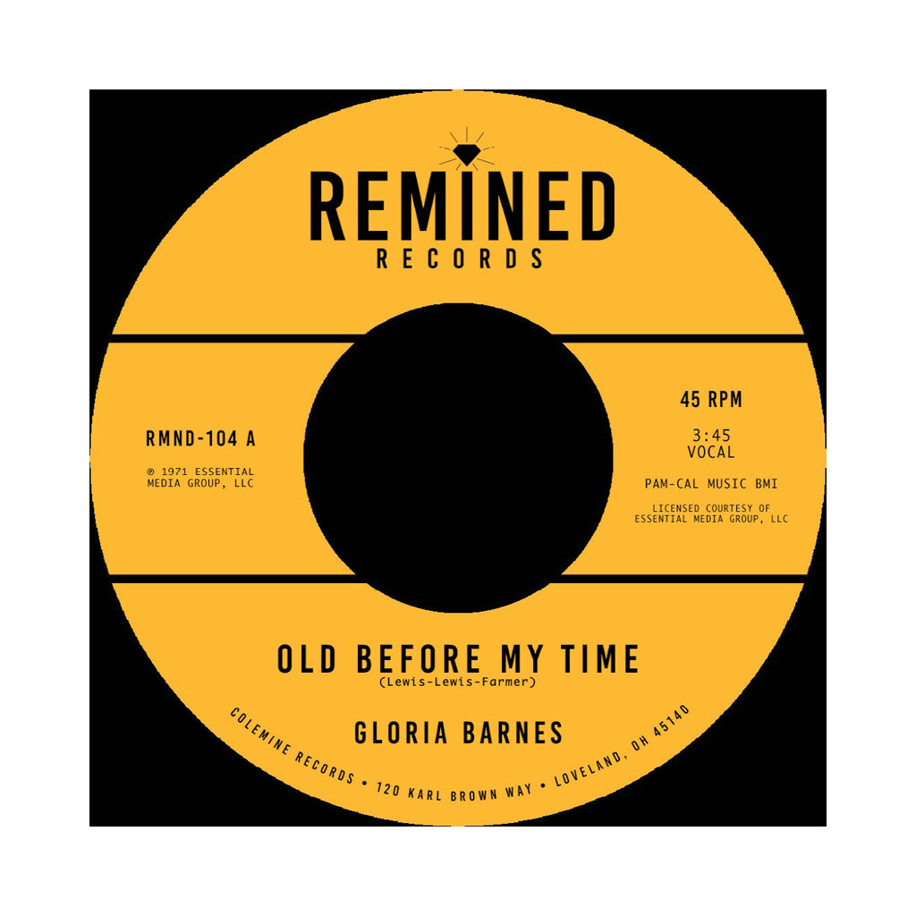 "Gloria Barnes - 'Old Before My Time/ I'll Call You Back Later' [(Black) 7"" Vinyl Single]"