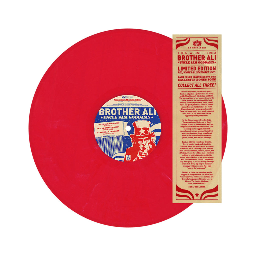 "Brother Ali - 'Uncle Sam Goddamn/ No Alibis (1 of 3)' [(Red) 12"" Vinyl Single]"