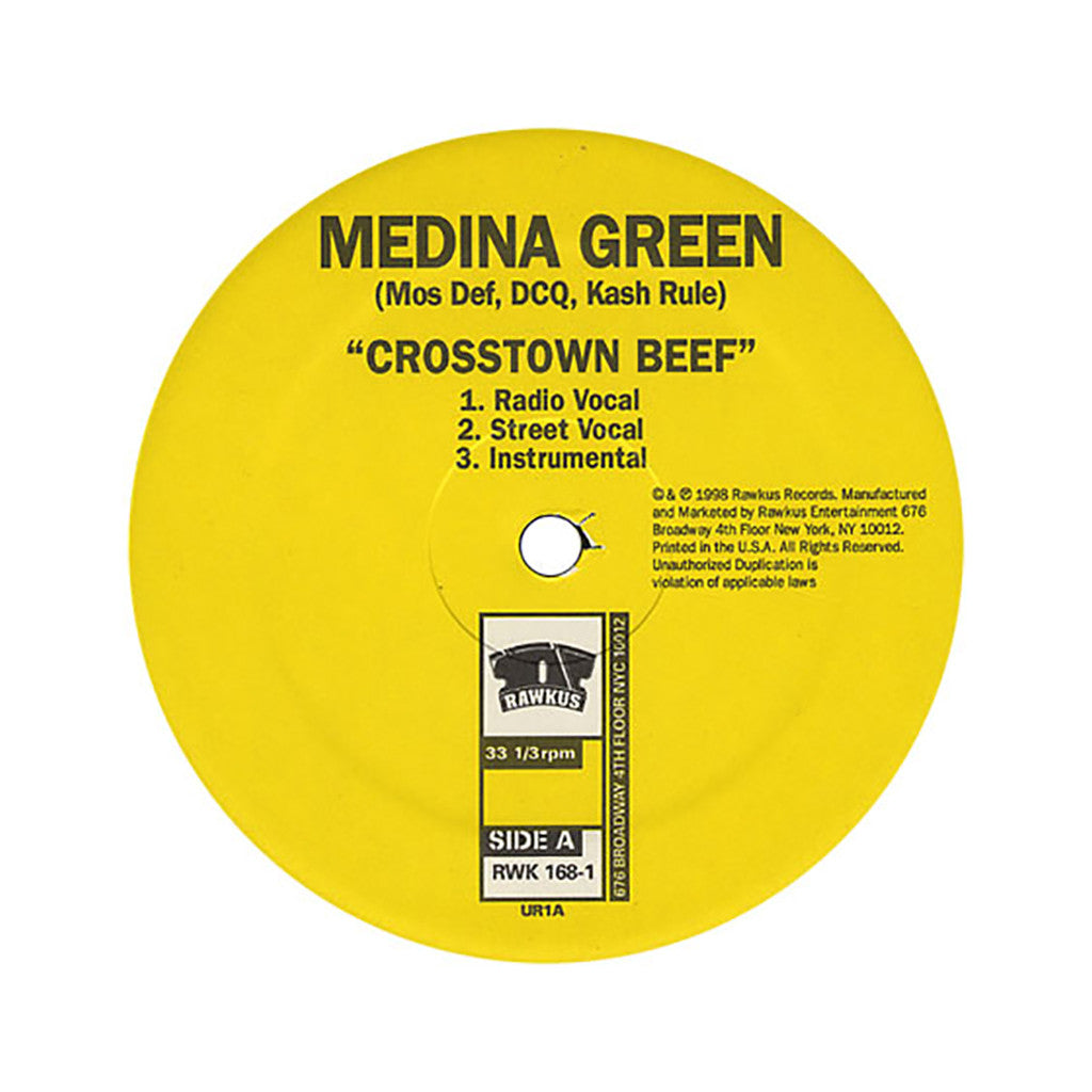 "Medina Green - 'Crosstown Beef/ Fla-La-Lashe' [(Black) 12"" Vinyl Single]"