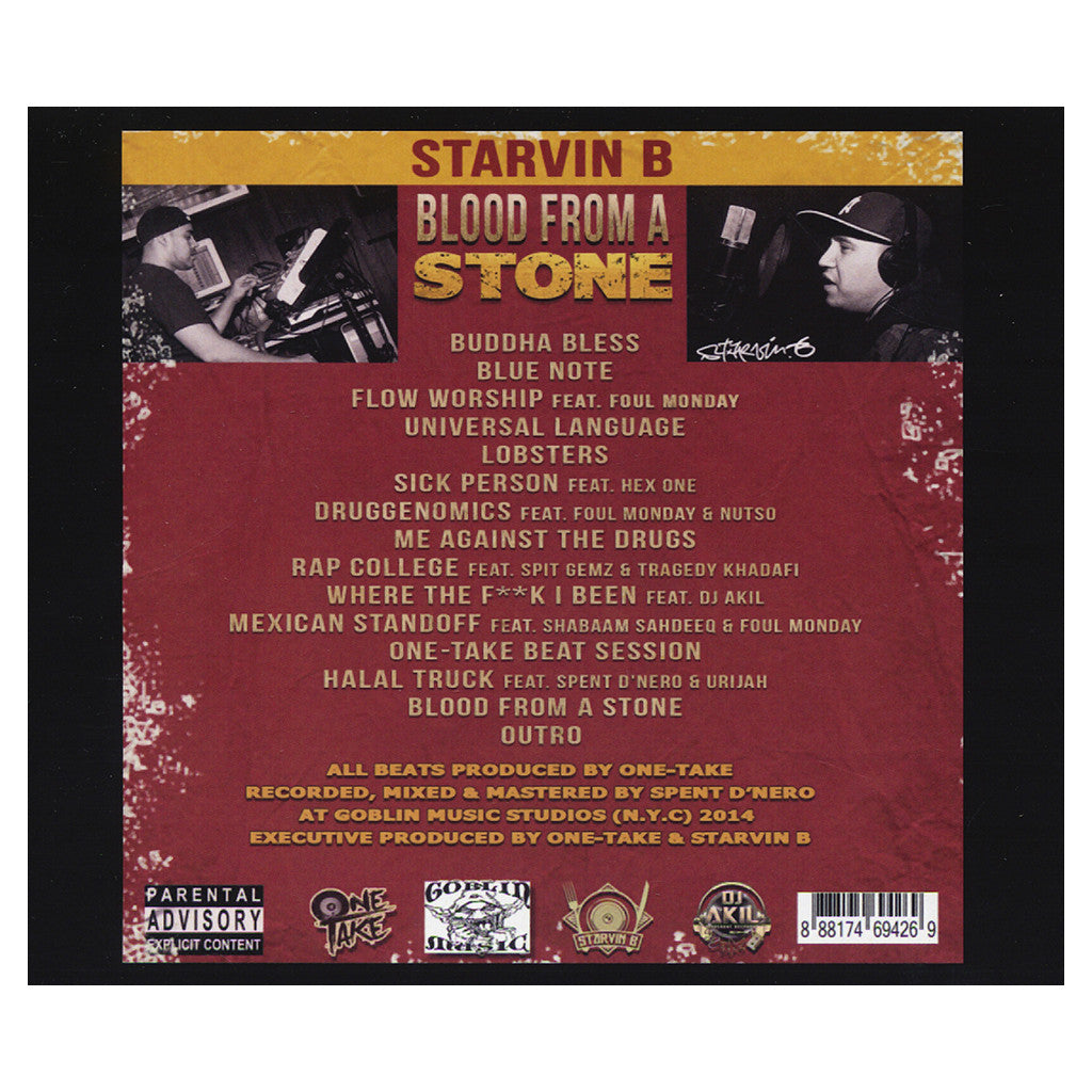 <!--020140422063472-->Starvin B - 'Blood From A Stone' [CD]