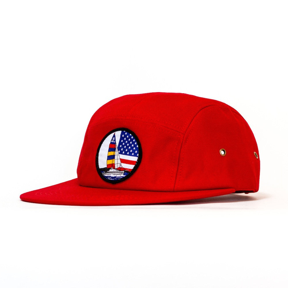 <!--020131211061375-->Sun Cycle Limited - 'Sailing Patch' [(Red) Five Panel Camper Hat]