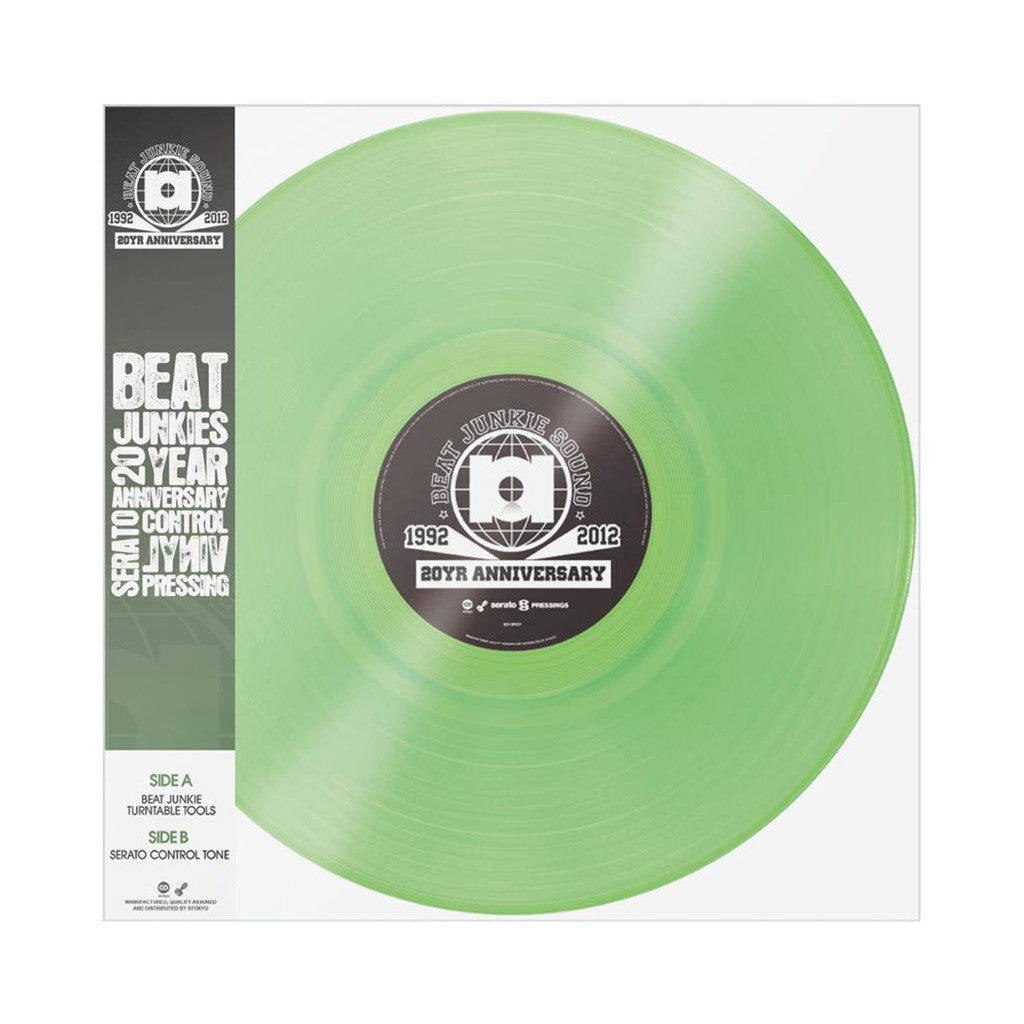 "<!--020130730058774-->Beat Junkies x Serato Pressings - '20 Year Anniversary' [(Neon Glow-In-The-Dark) 12"" Vinyl Control]"