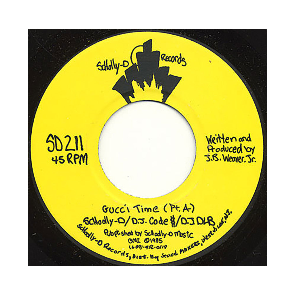 "<!--019851217015678-->Schoolly D, DJ Code $, DJ DLB - 'Gucci Time Pt. A/ Gucci Time Pt. B' [(Black) 7"" Vinyl Single]"
