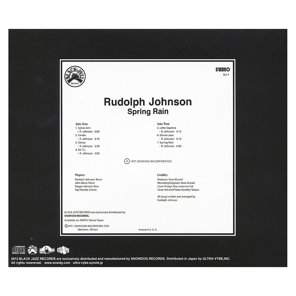 <!--020120925001401-->Rudolph Johnson - 'Spring Rain' [CD]