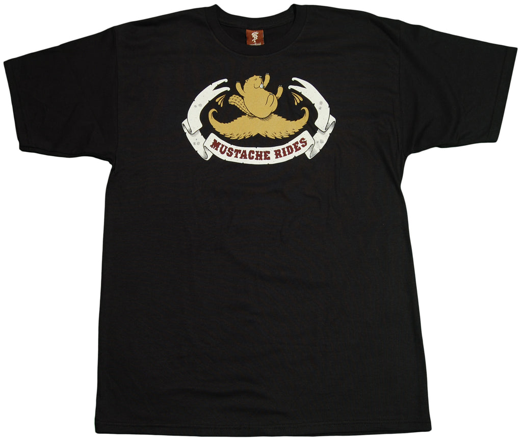 <!--2011052421-->superFishal - 'Mustache Rides' [(Black) T-Shirt]