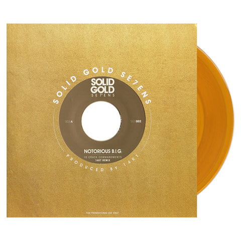 "The Notorious B.I.G. - '10 Crack Commandments (14KT Remix)' [(Clear Gold) 7"" Vinyl Single]"