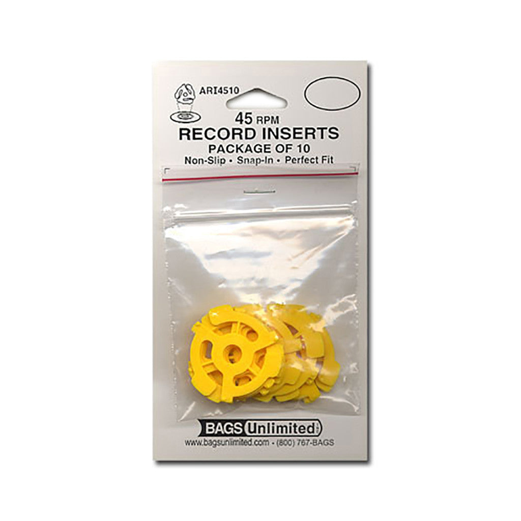 <!--020090407016660-->Bags Unlimited - '45 RPM Vinyl Record Snap-In Plastic Adapter (x10)' [45 Adapter]