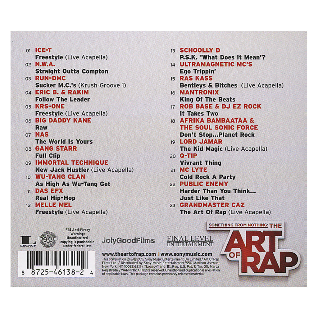 something for nothing the art of rap The art of rap is definitely the cd for either a person that wants to relive the early days when they may have first heard rap, or for a person that may want to learn how the rap movement started, but they may not know where to start.