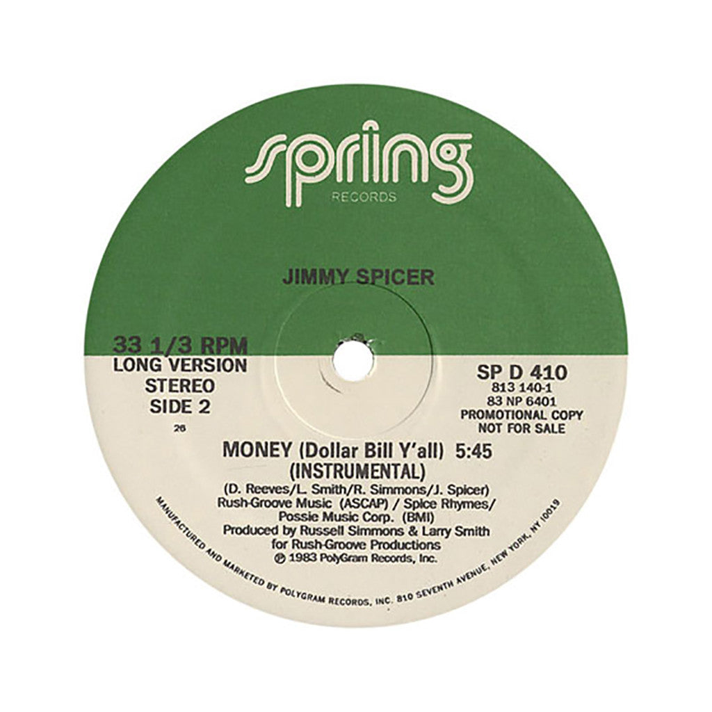 "<!--019830101005193-->Jimmy Spicer - 'Money (Dollar Bill Ya'll)' [(Black) 12"" Vinyl Single]"