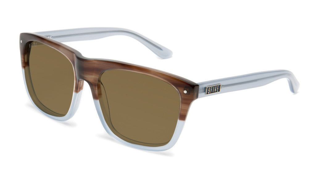 <!--020120612046125-->9five Eyewear - 'Cults: Wood/ Sky Blue Split' [(Light Brown) Sunglasses & Eyewear]