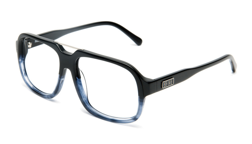 <!--2012061241-->9five Eyewear - 'Fronts: Black Fade To Blue Wood (CLEAR LENS)' [(Black) Sunglasses & Eyewear]