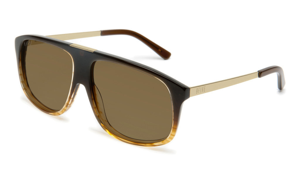 <!--020120612046112-->9five Eyewear - 'Marauders: Brown Fade To Gold Striped' [(Brown) Sunglasses & Eyewear]